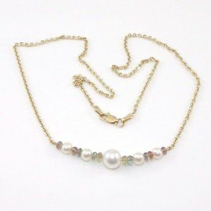 14K Gold Pearl Bead Rolo Cable Chain Link Necklace